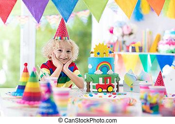 불, 키드 구두, 생일, 아이, 케이크, 양초, 파티., 나가