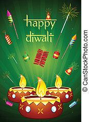 불, diwali, 크래커, diya