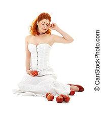 붉은머리딱따구리, 기쁜, 구두, 빨간 사과