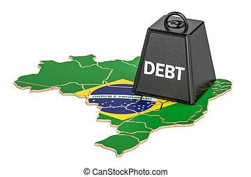 브라질의, 한 나라를 상징하는, 빚, 또는, 예산, 적자, 재정, 위기, 개념, 3차원, 지방의 정제