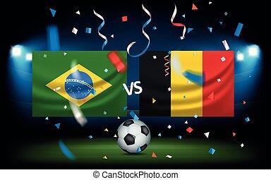 브라질, net., 공, 고전, concept., 나는 듯이 빠른, 축구, 대, 벨기에, 축구 성냥