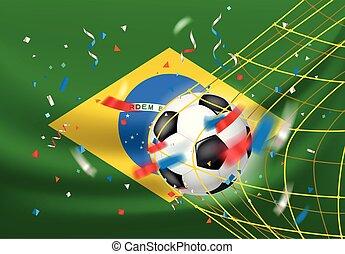 브라질, net., 공, 승리자, wins., 축구, 개념, 성냥