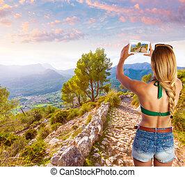 블론드인 사람, 관광객, 에서, mallorca, 사진을 찍는 것
