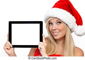 블론드, 소녀, 에서, a, 빨강, 크리스마스 모자, 통하고 있는, 새해, 보유, 정제, 컴퓨터, 접촉...