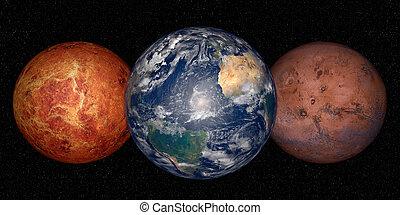 비너스, 지구, 화성