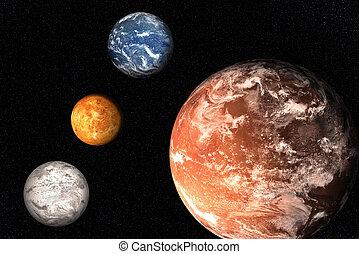 비너스, 태양의, 화성, 해왕성, space., 함께, 지구, 대기, 행성, 체계