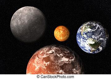 비너스, mercury., 태양의, 화성, space., 함께, 지구, 행성, 체계