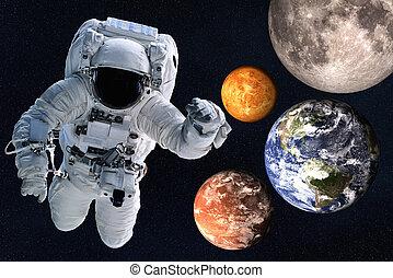 비너스, moon., 우주 비행사, 태양의, 화성, space., 함께, 지구, 행성, 체계