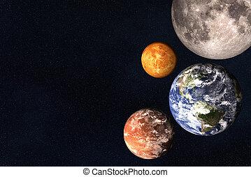 비너스, moon., 태양의, 화성, space., 함께, 지구, 행성, 체계