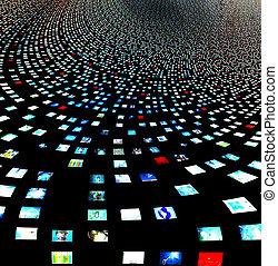 비디오, 스크린, 떼어내다, 창조되는, entireily, 의, 나의, 자기 자신의, 심상, 와...,...