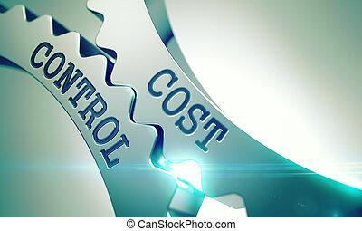 비용, 통제, -, 우주기계론, 의, 금속, cogwheels., 3d.