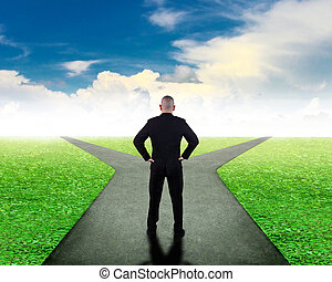 비즈니스 결정, concept., 은 혼동한다, 선택한다, 방향