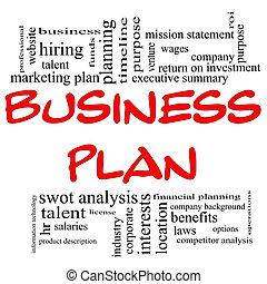 비즈니스 계획, 낱말, 구름, 에서, 빨강, &, 검정