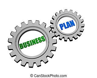 비즈니스 계획, 에서, 은, 회색, 은 설치한다