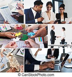 비즈니스 라이프, collage., 개념, 의, 팀웍, 조합 계약, 와..., 행동 개시