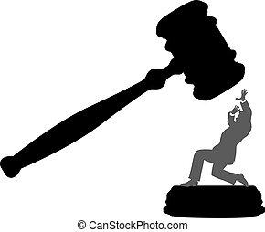 비즈니스 사람, 위험안에, 의, 법정, 부정, 작은 망치