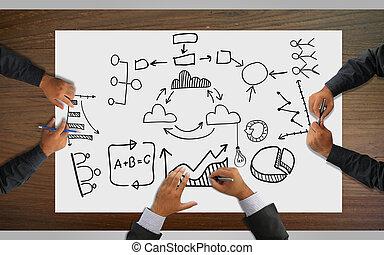 비즈니스 팀, 분석, 재정, 그래프, 계획