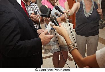 비즈니스 회의, 회의, 저널리즘, 마이크