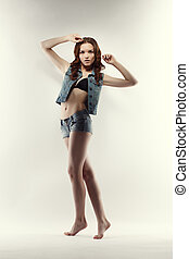 비탄, 귀여운, 심상, jeans, 자세를 취함, 모델, 천