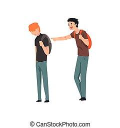 비탄, 말레 학생, 웃음, 와..., 손으로 가리키는 것, 소년, 충돌, 사이의, 아이들, 조롱, 와...,...