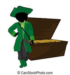비탄, 실루엣, 삽화, 미국 영어, african, 해적
