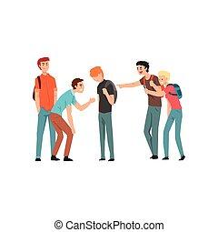 비탄, 학생, 웃음, 와..., 손으로 가리키는 것, 소년, 충돌, 사이의, 틴에이저, 조롱, 와...,...