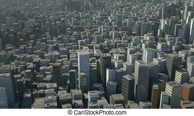 비행, 위의, 3차원, 도시