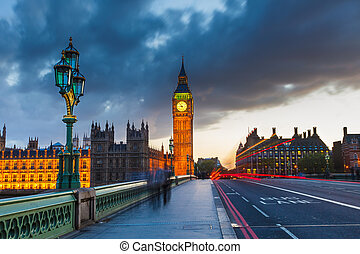 빅 벤, 밤에, 런던