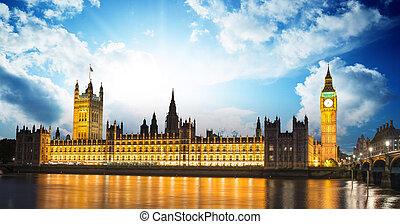 빅 벤, 와..., 으회의집, 에, 강 thames, 국제 표시, 의, 런던, 영국, 에, 황혼, -, uk