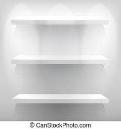 빈 광주리, 백색, 선반, 치고는, 전시회를 개최하다, 와, light., +, eps10