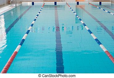 빈 광주리, 새로운, 학교, 수영 풀, 곧장, 보이는 상태