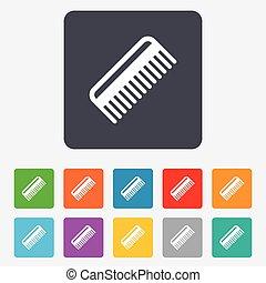 빗, 머리, 표시, icon., 이발사, 상징.