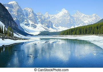 빙퇴석, lake., banff, 한 나라를 상징하는, park.