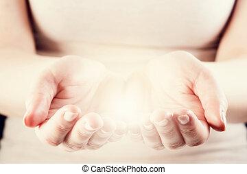 빛, 에서, 여자, hands., 증여/기증/기부 금, 지불 준비를 하다, 걱정, 에너지, concept.