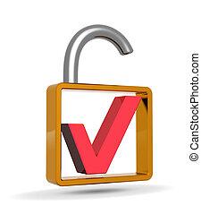 빨간 대조 표시, 으로, a, 열려라, 맹꽁이 자물쇠, 안전, 개념