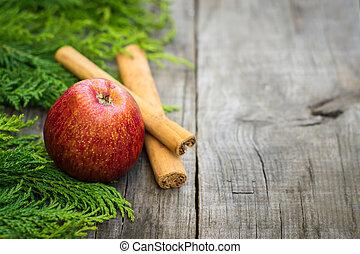 빨간 사과, 와, 계피 스틱