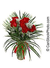 빨간 장미, 에서, 꽃병, isoalted, 백색 위에서