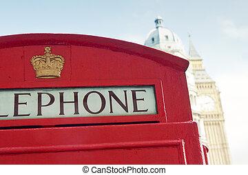 빨간 전화 박스, 와..., 빅 벤, 에서, 런던