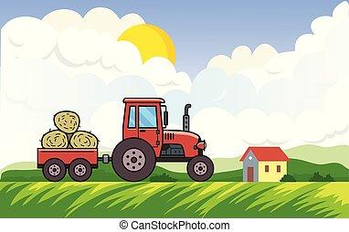빨간 트랙터, 와, 트롤리, 가득하다, 의, 건초, 통하고 있는, 시골의 풍경, 배경, 와, 그만큼, 태양, 구름, 와..., a, house., 차량, 통하고 있는, 녹색 풀밭, 에서, 그만큼, countryside., 바람 빠진 타이어, 벡터, illustration., horizontal.
