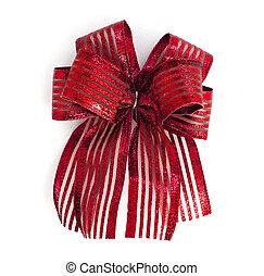 빨강, 공단, 선물, bow., 리본, 고립된, 백색 위에서