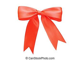 빨강, 공단, 선물, bow., 리본