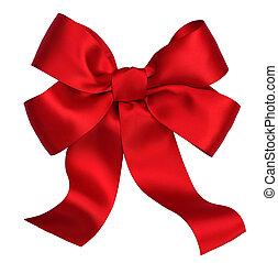 빨강, 공단, 선물, bow., ribbon., 고립된, 백색 위에서