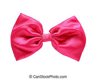 빨강, 공단, 선물, bow., ribbon., 고립된, 백색 위에서, 와, 클리핑패스
