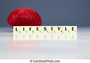 빨강, 뇌, 와, 생활 양식, 표시