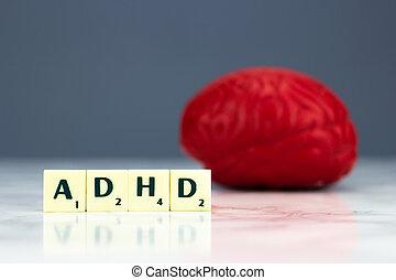 빨강, 뇌, 와, adhd, 표시