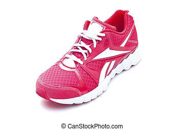 빨강, 달리기, 은 단화를