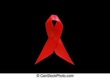 빨강 리본, 가령...와 같은, 상징, 의, 조력 인식, 위의, 백색