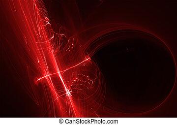 빨강, 백열, 에너지, wave.
