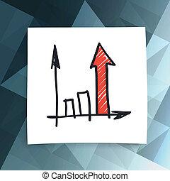 빨강, 성공, 화살, 통하고 있는, 떼어내다, 사업, 배경., 벡터, eps10
