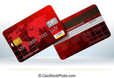 빨강, 신용 카드, 정면, 와..., back., eps, 8